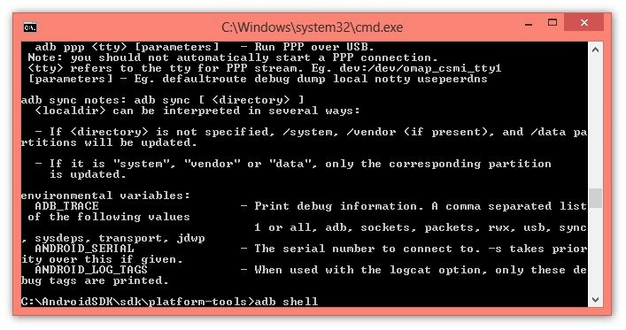 After this the following command you must write is adb shell and once again press the Enter .2