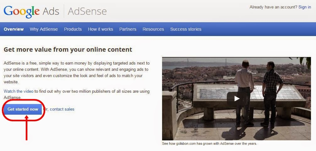apply for google adsense step 2