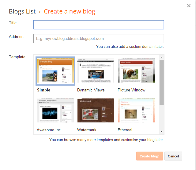 create free blog with blogger