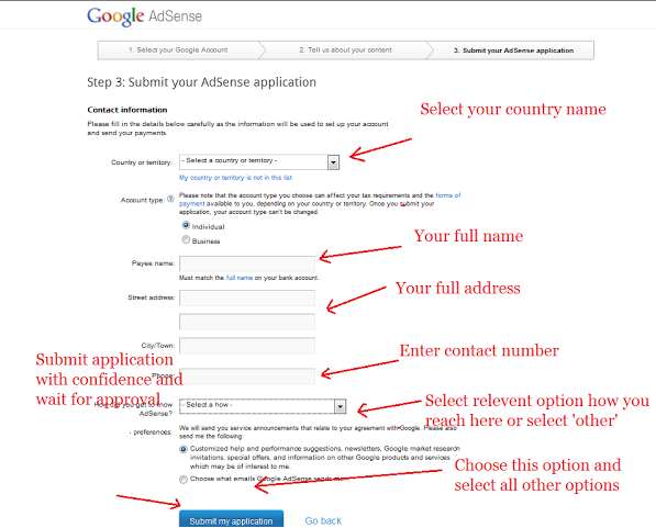 Google AdSense Approval: Step by Step Procedure to Apply for Google on walmart application form, wells fargo bank application form, barclaycard application form, capital one application form, surveymonkey application form, apple store application form,
