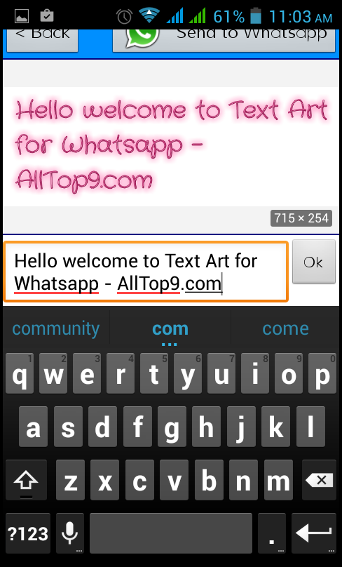 type the text as you want in text art app