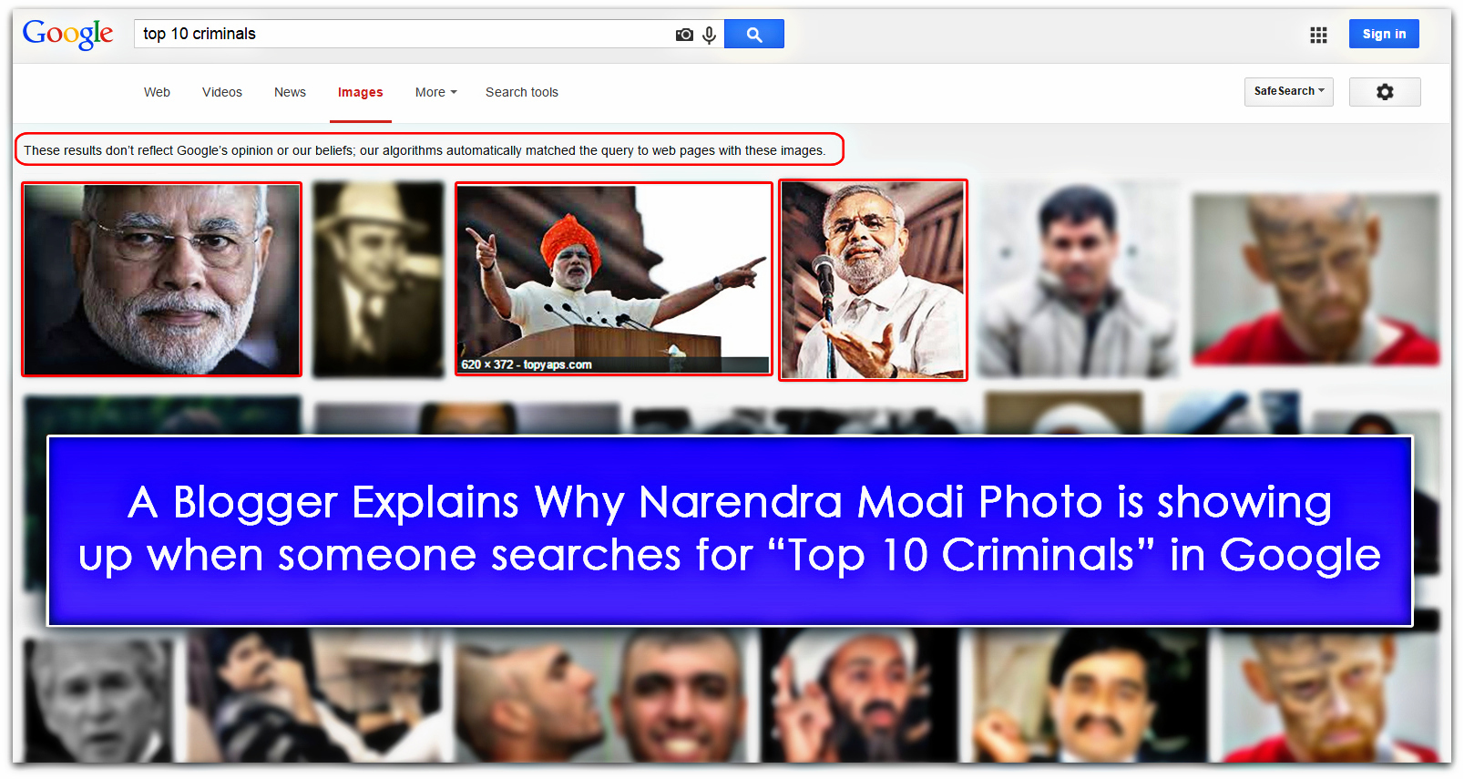 blogger explains why narendra modi shown up for criminal keyword