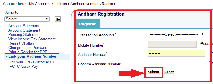 Application Form For Linking Aadhaar Card With Bank Account on