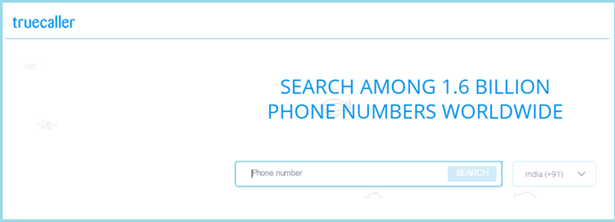 Search Mobile Number using True caller app