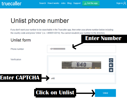 Unlist phone number from Truecaller Database