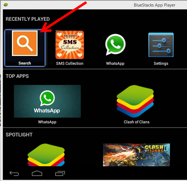 Bluestacks - Search for Hotstar