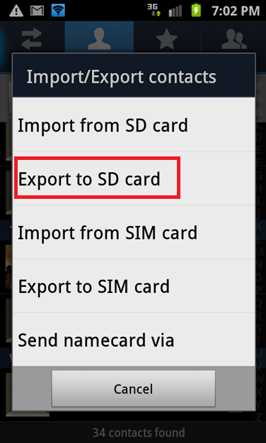 Export contacts to SD Card