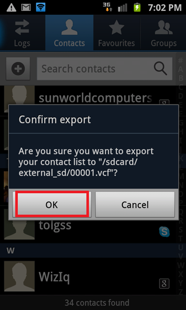How to Export contacts on Android