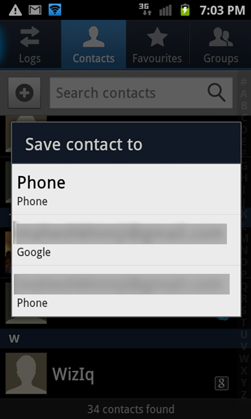Import Contacts on Android device