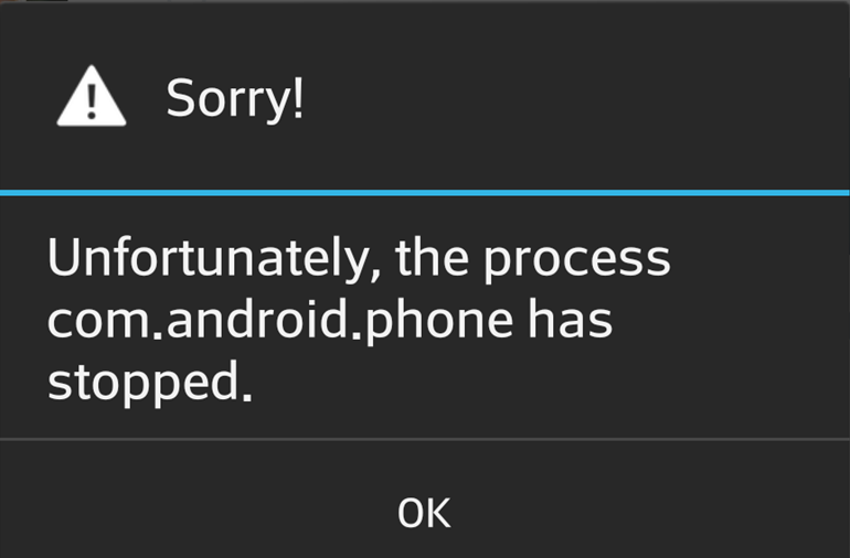 unfortunately, the process com.android.phone has stopped