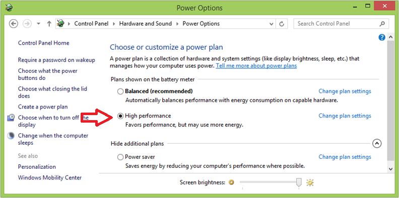 Bildergebnis für power options windows 10 high performance