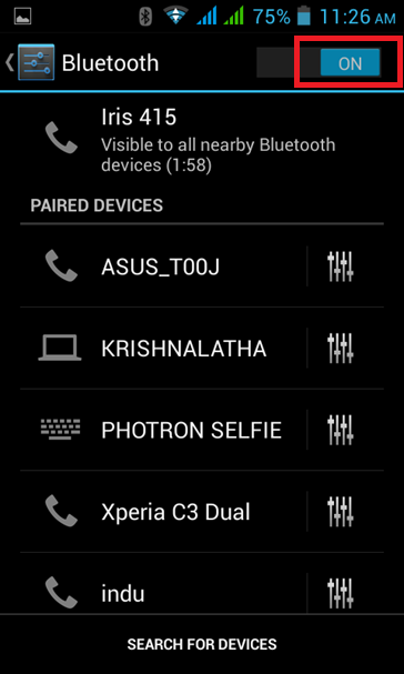 Search for Devices on Bluetooth