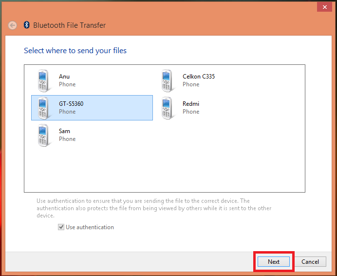 Send Files from PC to mobile via BLuetooth