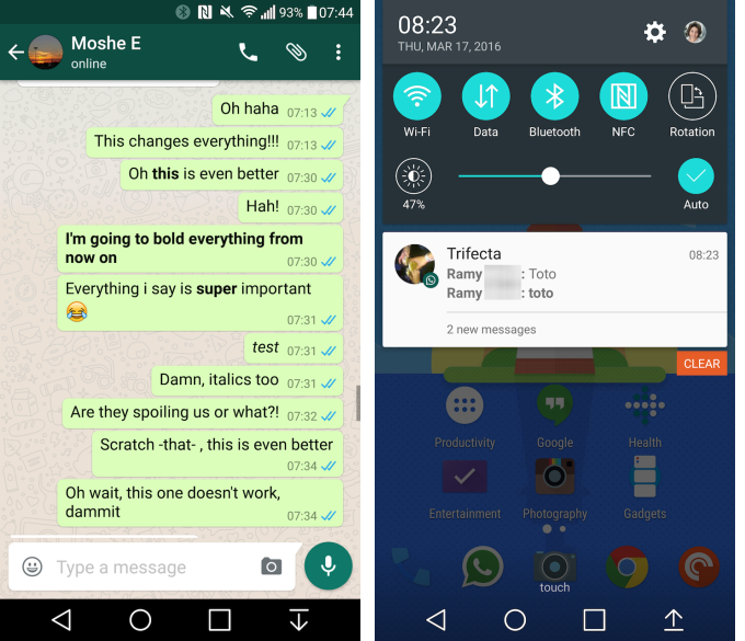 WhatsApp New Formatting Options