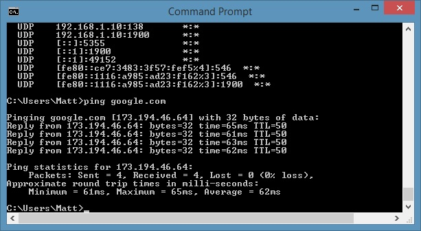 Command Prompt - Ping