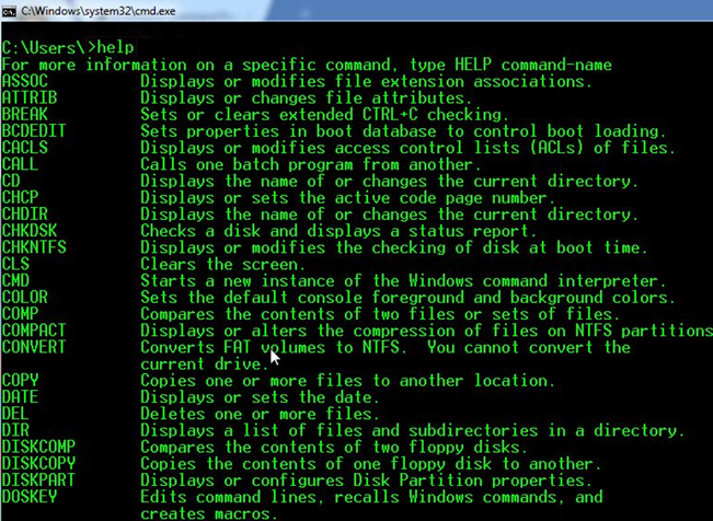 Get Help from Command Prompt