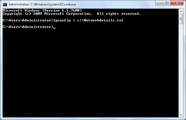 Save command prompt data to file