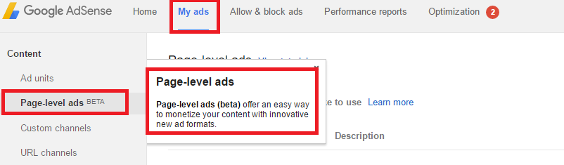 page-level-ads-setup