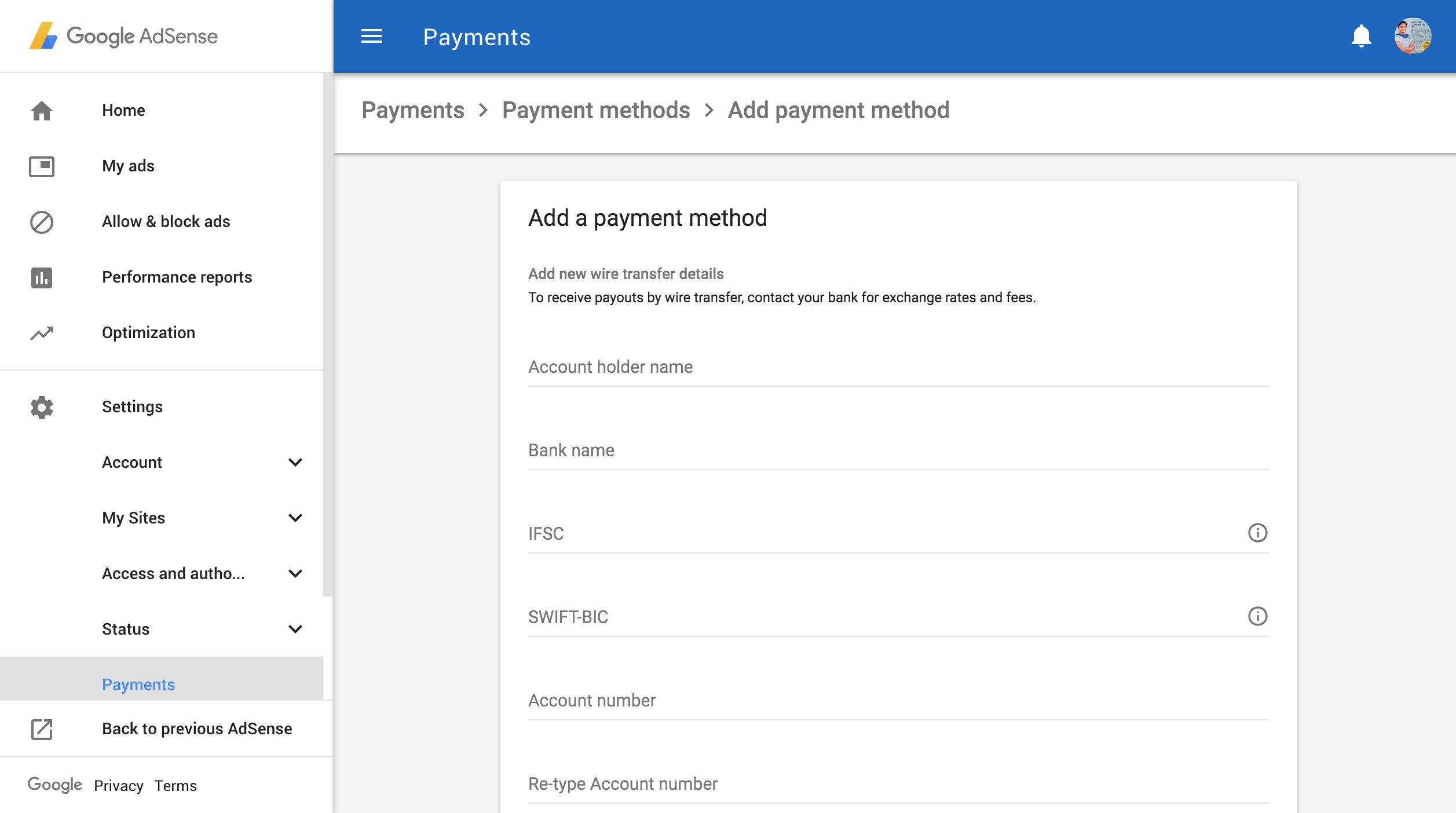 google-adsense-payment-form-add-edit-payee-name-bank-details