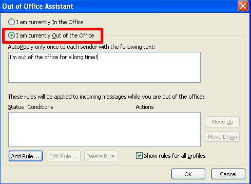Iam Currently Out of Office 2003