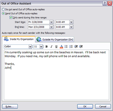 Setup Quot Out Of Office Quot Replies In Outlook 2003 2007 2010