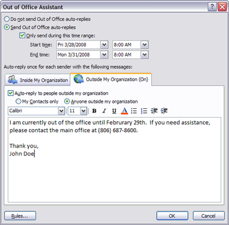 how to set out of office reply in outlook 2016