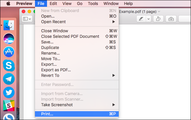 Print PDF file in Mac