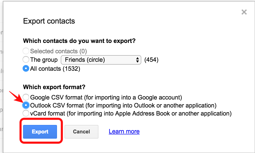 export-outloook-csv