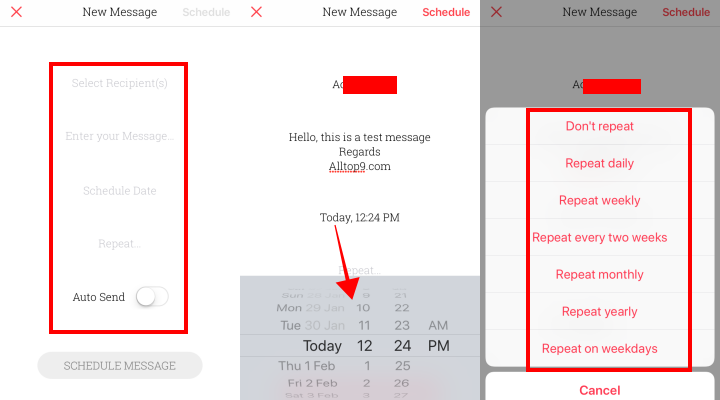 select-contact-recipient-date-day-time-text-message-repeat-schedule-message