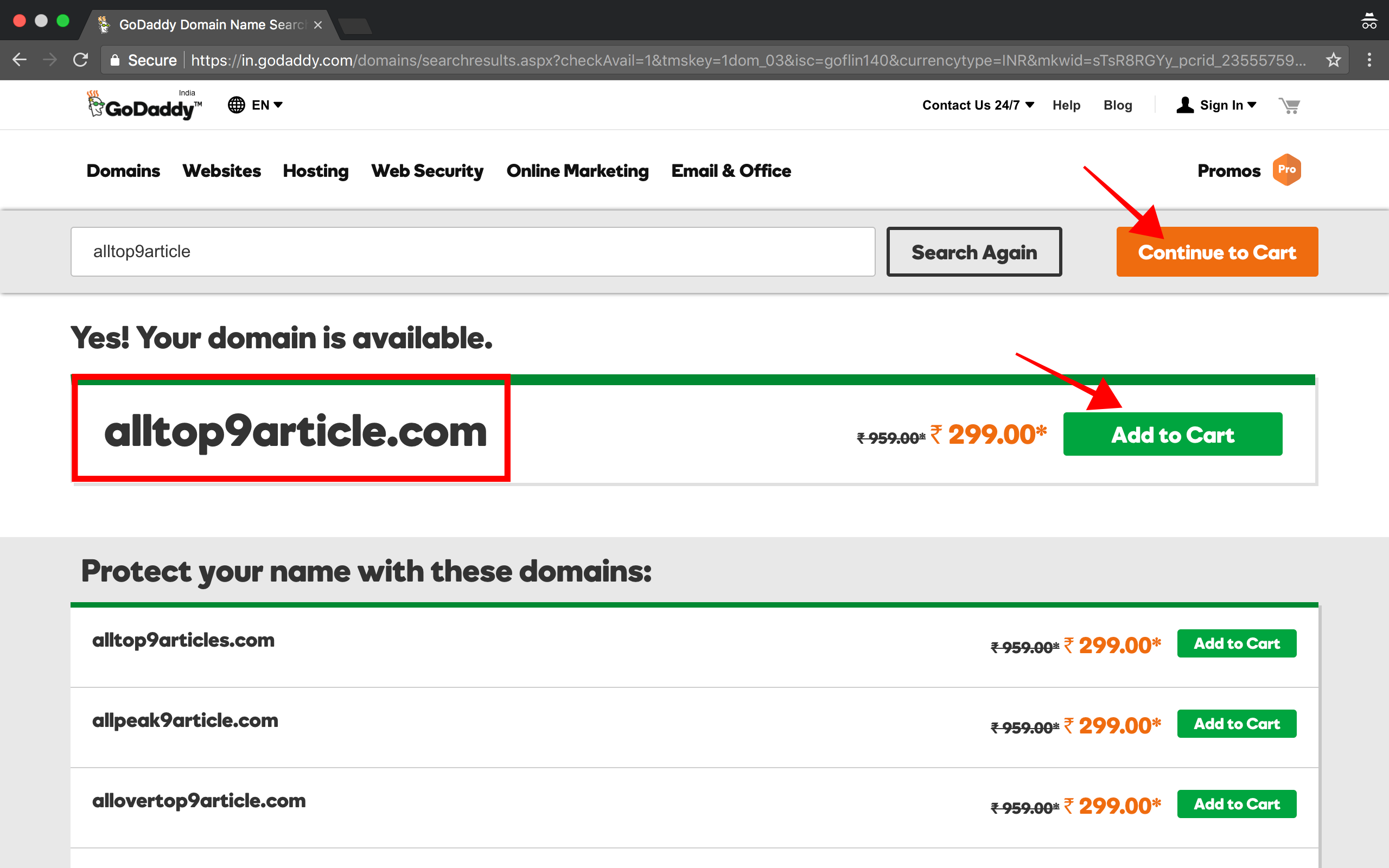 select-domain-add-to-cart-then-select-continue-to-cart