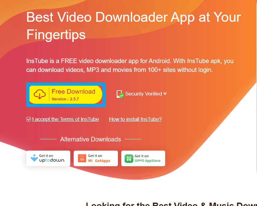How to download videos from YouTube using instube-1