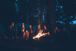 a group of people at a camping site